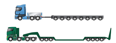 oversize: Trucks with oversize and overweight hauling trailers Illustration