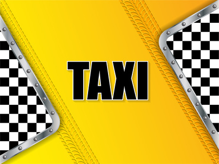 tread: Abstract taxi company advertising background design with tire tread and metallic elements