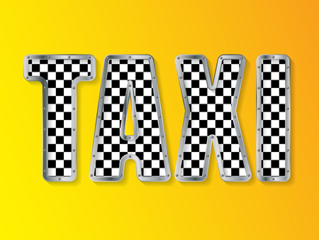 advertising text: Abstract taxi company advertising background with metallic framed text