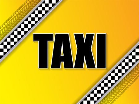 tread: Taxi company advertising background design with tire tread and metallic elements Illustration