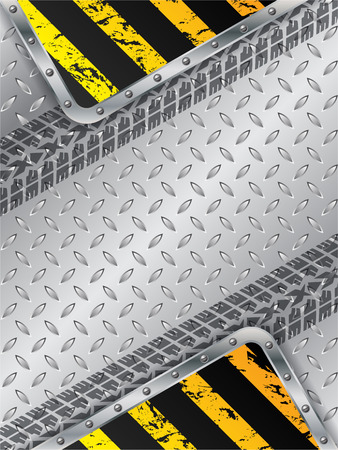 tread plate: Abstract industrial background design with grunge elements and tire tread