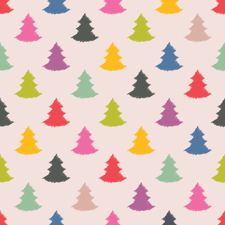 xmas tree: Christmas tree seamless colorful background texture design Illustration