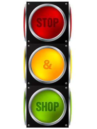 signal stop: Cool advertisement stop and shop traffic light