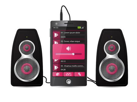 equipo de sonido: Juego de altavoces estéreo conectado al teléfono de la música de juego Vectores