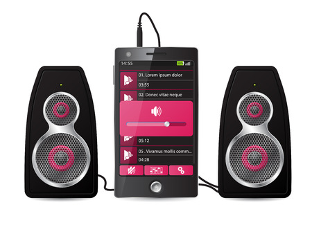 sub woofer: Stereo speaker set plugged into phone playing music Illustration