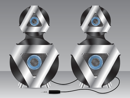 party system: Speaker set of two with metal and plastic elements Illustration