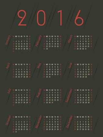 simplistic: Simplistic retro colored 2016 calendar design with dark background