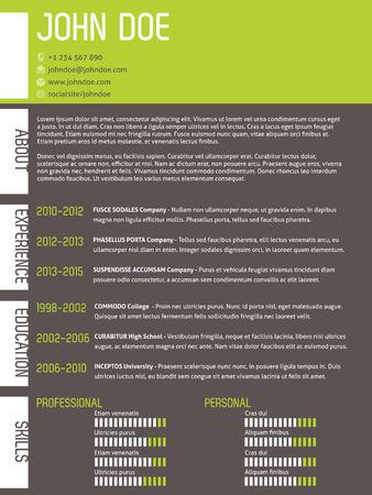 simplistic: Modern curriculum vitae cv resume template with simplistic design