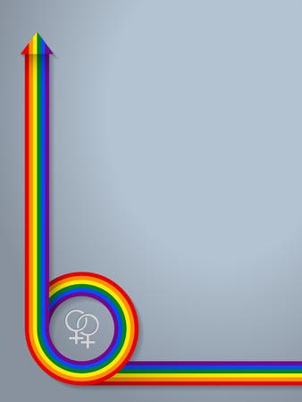 bandera gay: Resumen de fondo con el símbolo lgbt y curling cinta de la bandera