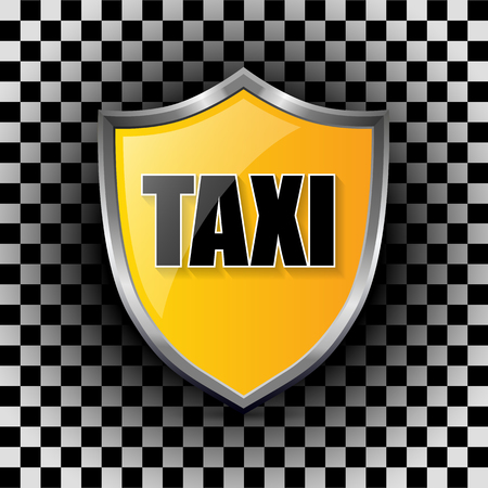 checkers: Metallic taxi shield shaped badge on checkered background Illustration