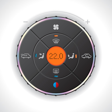 lcd: Car climatronic gauge design with orange LCD Illustration