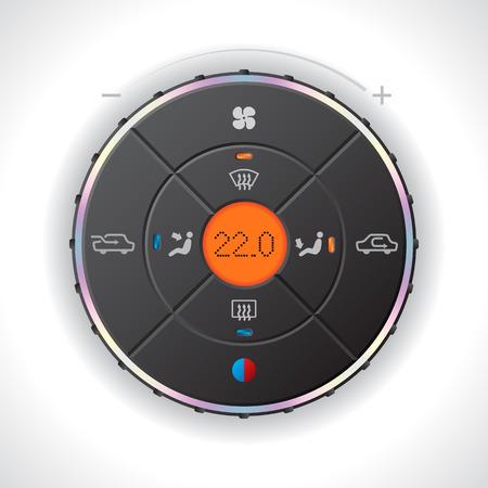 recirculate: Car climatronic gauge design with orange LCD Illustration