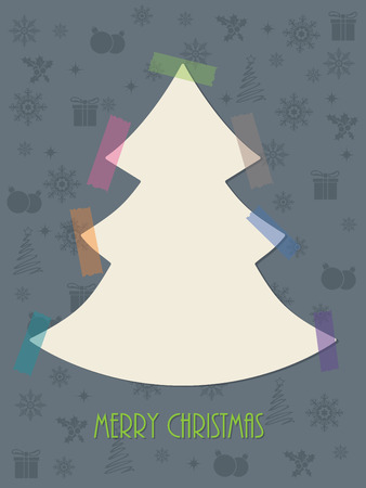 christmastree: Christmas greeting card design with color tapes sticking christmastree to background