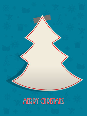 christmastree: Christmas greeting card design with red tape sticking christmastree to turquoise  background