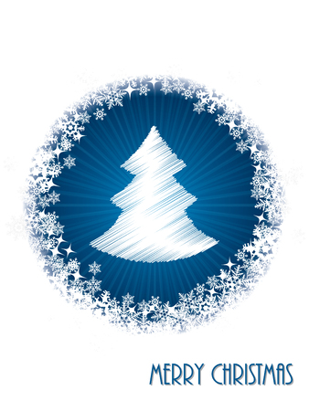christmastree: White christmas greeting card design with bursting christmastree from blue circle