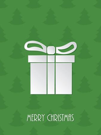 vacanza: Auguri di Natale con giftbox bianco e verde scarabocchiato sfondo christmastree Vettoriali