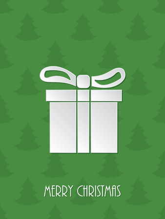 the winter holidays: Christmas greeting card with white giftbox and green scribbled christmastree background