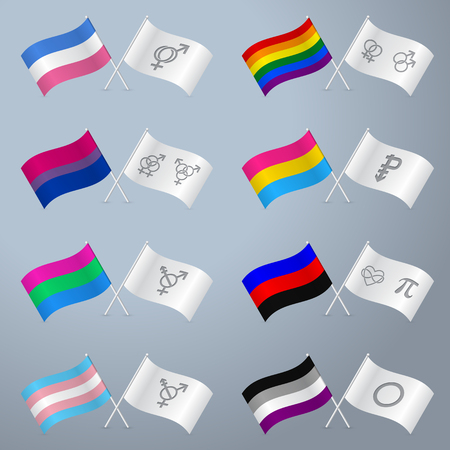 trans gender: Sexual orientation flags and separate white flag with symbols Illustration