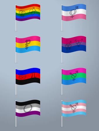 asexual: Sexual orientation waving flag set with symbols