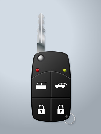 remote: Black car key with remote security functions Illustration