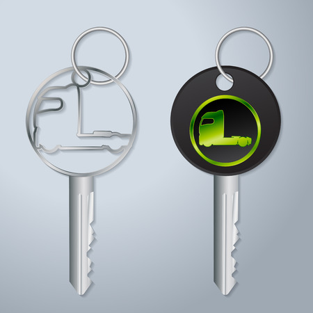 truck tractor: Truck key set of two with engraved truck tractor symbol Illustration