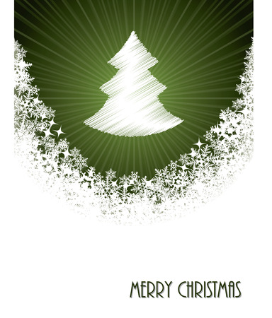 glisten: White christmas greeting card design with bursting christmastree from green circle
