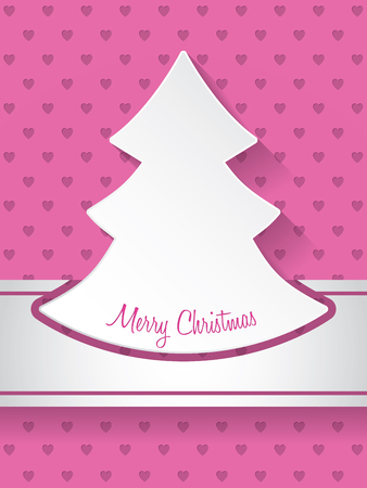 winter party: Christmas greeting card design with christmastree and hearts background