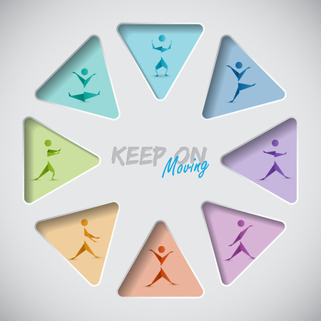 man jumping: Keep on mooving fitness background with origami people Illustration
