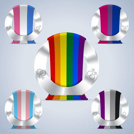trans gender: Sexual orientation badges with flag ribbons and symbols