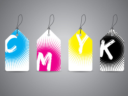 halftones: Cmyk label set with painted text in halftones