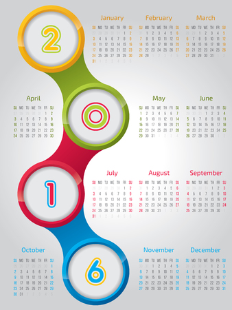 agenda year planner: New 2016 calendar design with cool shiny circles