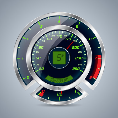rev counter: Shiny metallic speedometer with big rev counter Illustration