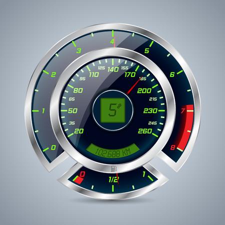 rpm: Shiny metallic speedometer with big rev counter Illustration