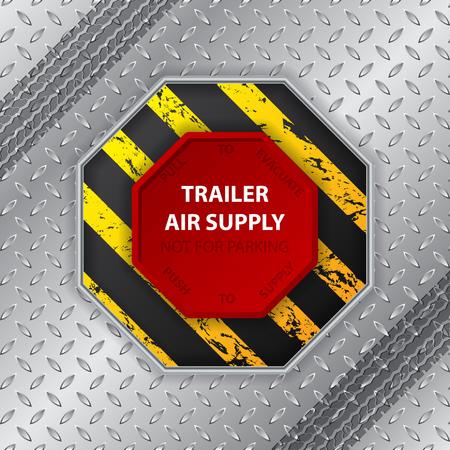 hazard stripes: Industrial design with grunge tire track and trailer air supply knob