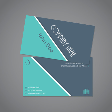 combo: Gray turquoise color combo business card template with white stripe