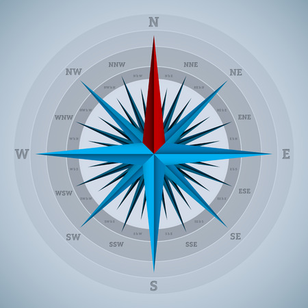magnetic north: Cool 32 point compass design on blueish background