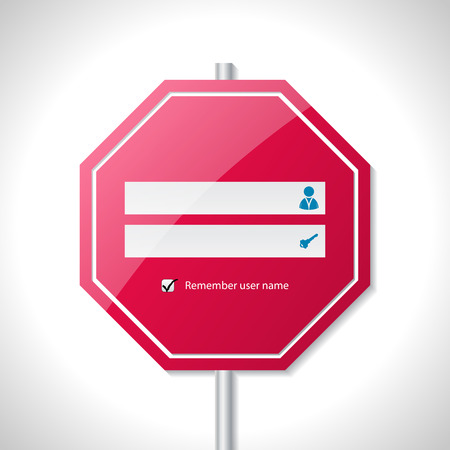 stop icon: Stop sign inspired login screen template design Illustration