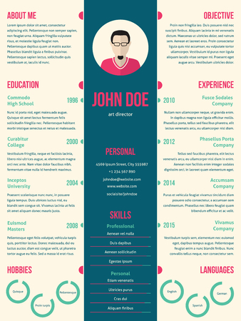curriculum: Modern resume cv curriculum vitae template design for employment Illustration