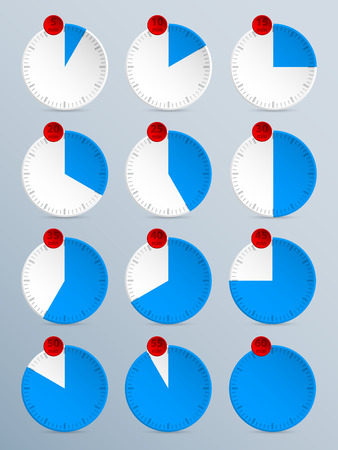 countdown: Countdown timer set of twelve in blue with red counter