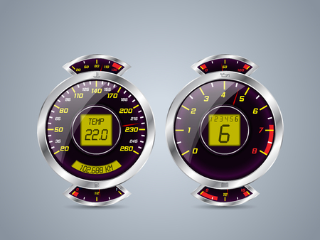 rev counter: Shiny metallic speedometer and rev counter with  other instruments