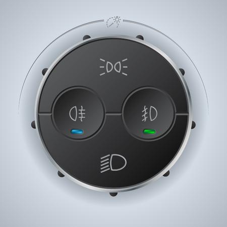 high beams: Digital light control gauge design for vehicles Illustration