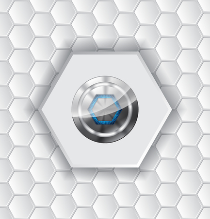 metallic button: Abstract background design with hexagon pattern and shiny metallic button