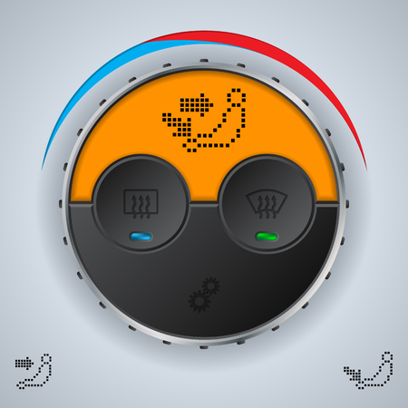 display: Air condition gauge with orange lcd display and three buttons