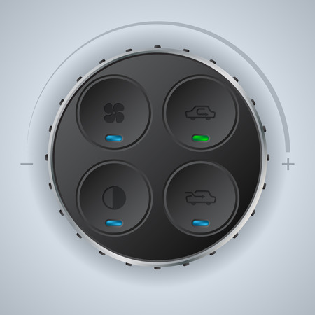 recirculate: Car auto clima control gauge with cool circle knobs Illustration