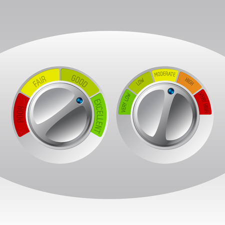 rating meter: Rating meter design set of two on white background