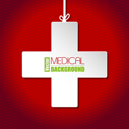 red and white: Medical background template with white cross on striped  red background