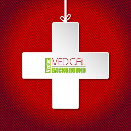 fondo rojo: Plantilla de fondo médico con la cruz blanca sobre fondo rojo a rayas