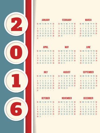 red ribbon week: New calendar design for year 2016 with circles
