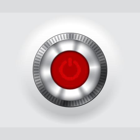 luz roja: Botón de encendido metálica brillante con pantalla LCD