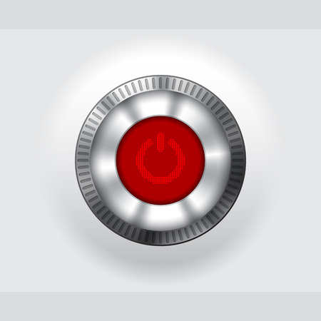 red button: Shiny metallic power button with lcd display